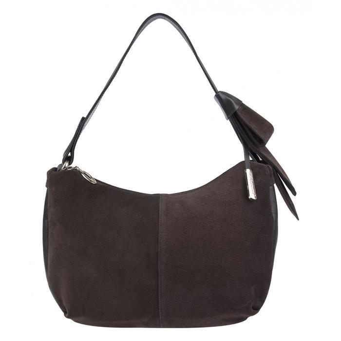 1-3107к Сумка мешок, отдел на молнии, цвет коричневый 290x240x100 н/замша