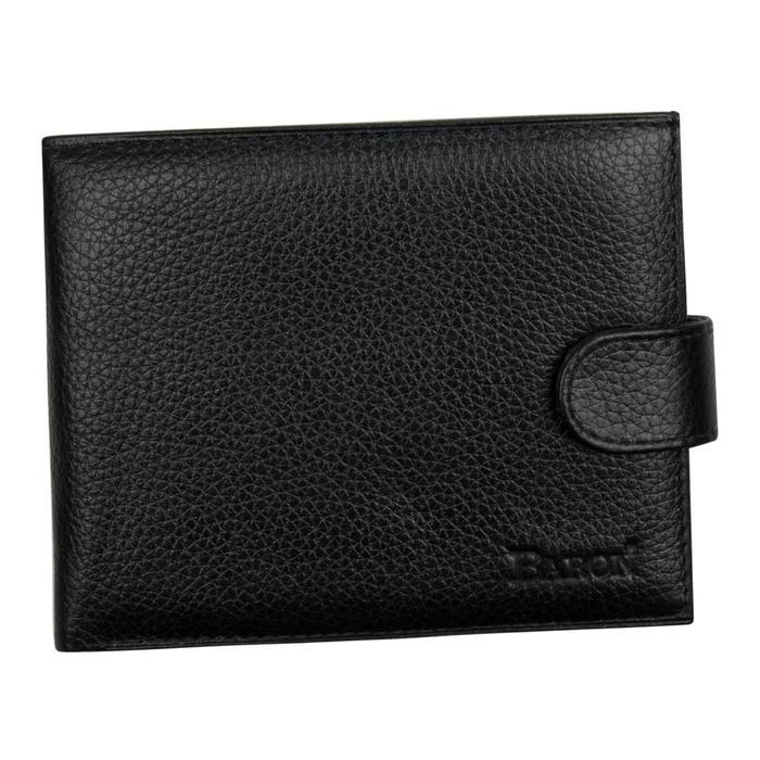 0-06В Портмоне мужское, з/кнопка, отд. для купюр, карт, монет, цвет черный 12,5х10х2см