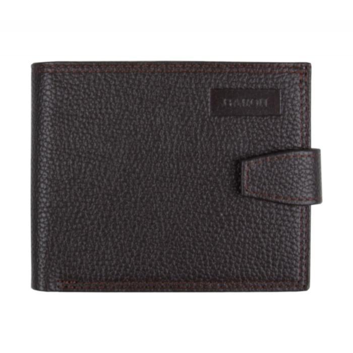 0-227В Портмоне мужское, з/кнопка, 2 отдела, для карт, монет, цвет коричневый 11,5х9х2см