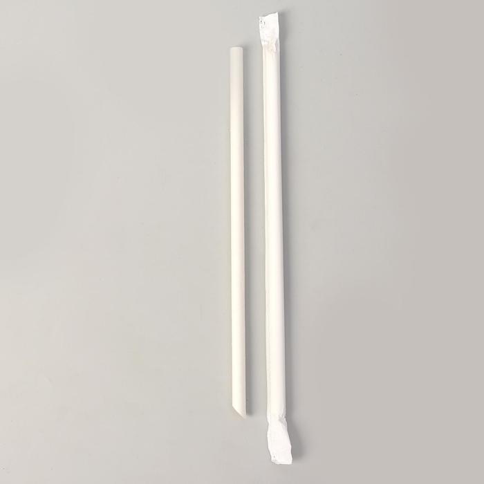 Трубочки для коктейля, D 0,8 см, бумажные, в индивидуальной упаковке
