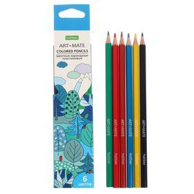 Карандаши цветные 6 цветов Mate, пластиковые, с европодвесом Ош