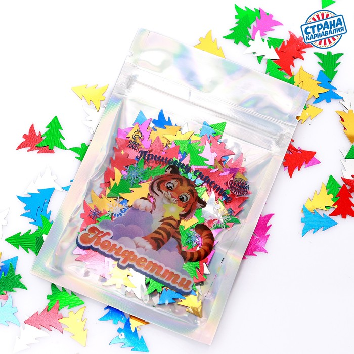 Праздничное конфетти Приношу счастье тигр, цветные ёлочки 14 г