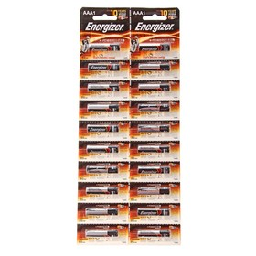 Батарейка алкалиновая Energizer +PowerSeal, AAA, LR03-20BL, 1.5В, отрывной блистер, 20 шт.
