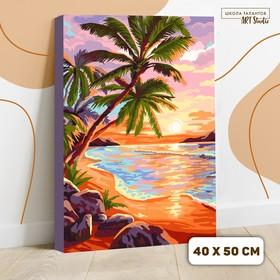 Картина по номерам на холсте с подрамником «Закат на море» 40х50 см