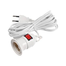 Патрон подвесной для фитоламп с выключателем, Е27, провод 5 м, белый Ош