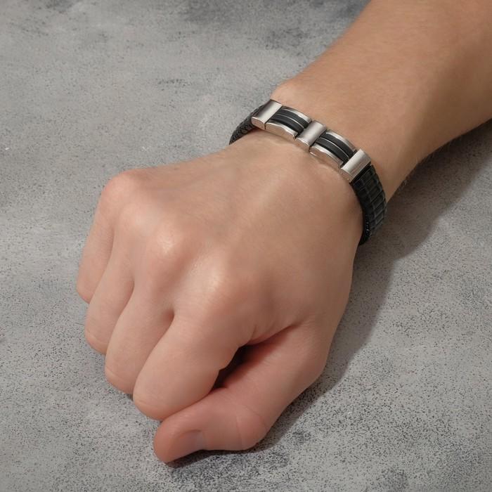 """Браслет мужской """"Каркас"""" мрак, цвет чёрный в серебре, d=6,5"""
