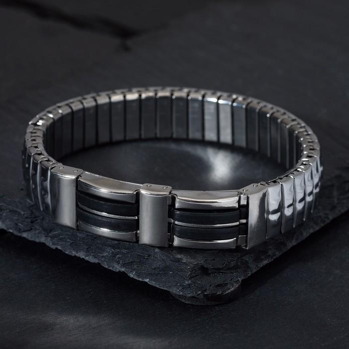 """Браслет мужской """"Каркас"""" тьма, цвет чёрный в серебре, d=6,5"""