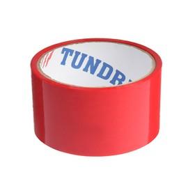 Лента клейкая TUNDRA, красная, 45 мкм, 48 мм х 24 м Ош