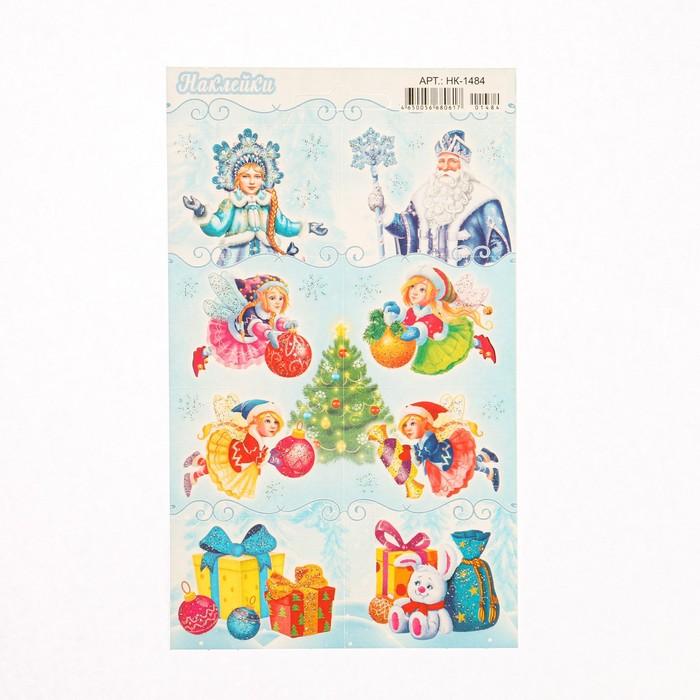 Наклейки Новогодние Дед Мороз, феи, глиттер 1,6x9,7 см
