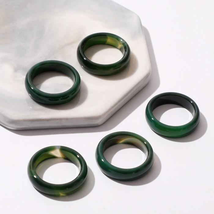 "Кольцо ""Агат тёмно-зелёный"" 5мм, размер МИКС (16-20) 3416648"
