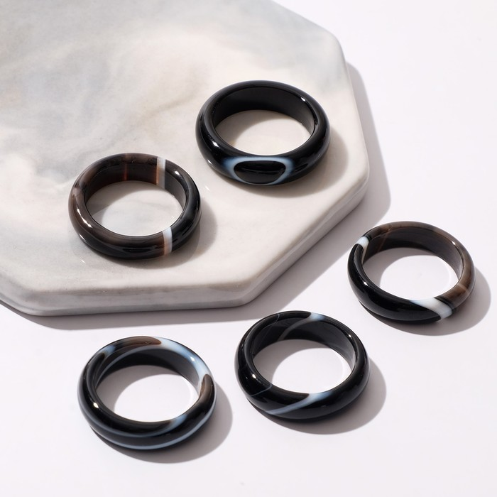 "Кольцо ""Агат полосатый"" 5мм, размер МИКС (16-20) (фас 5шт)"
