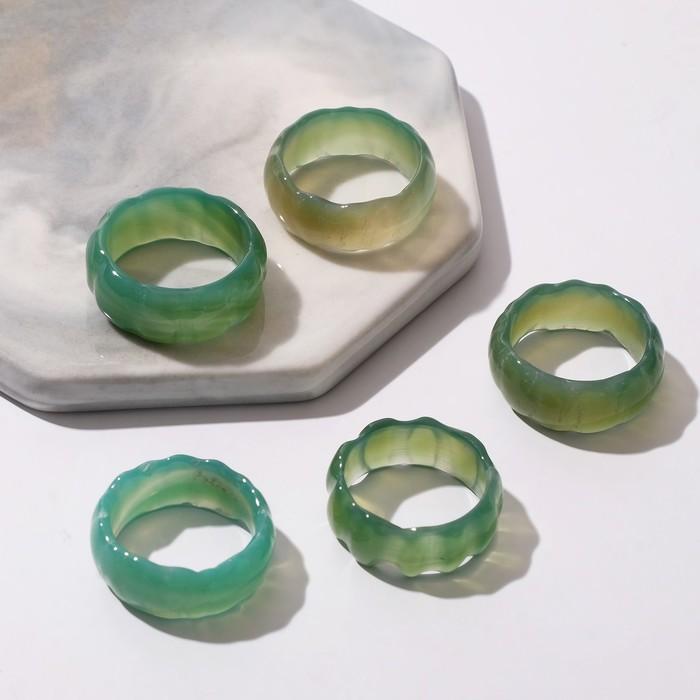 "Кольцо ""Агат тёмно-зелёный"" огранка квадрат, размер МИКС (16-20) (фас 5шт)"
