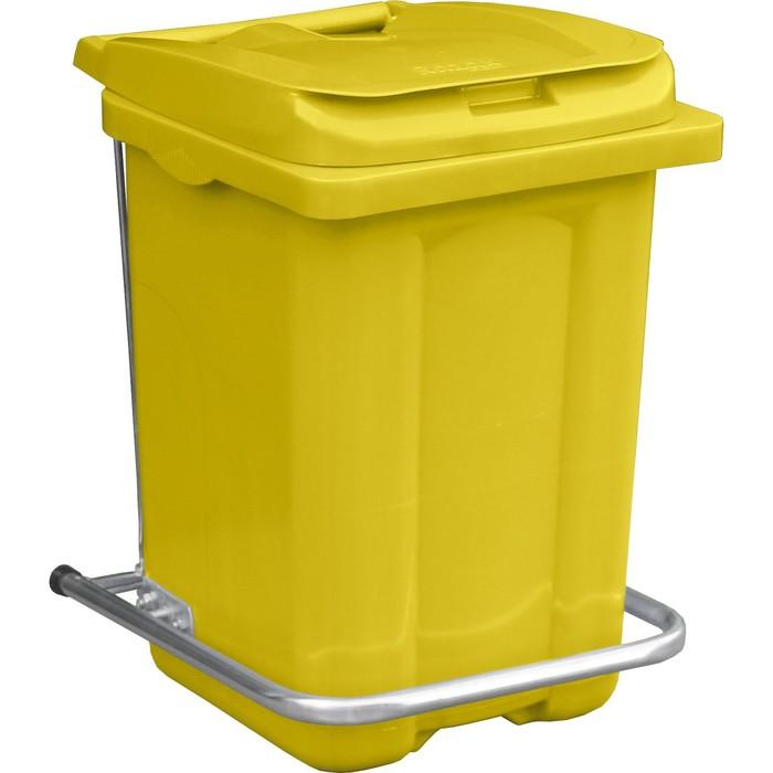 Бак пластиковы с педалью 60л 410х400х600 жёлтый