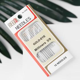 Иглы швейные для модисток, d = 0,7/0,8/1,1 мм, 3,8 - 5,3 см, с золотым ушком, 16 шт
