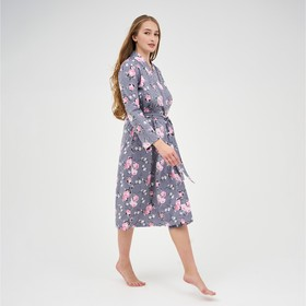Халат женский, цвет серый/розовый, размер 42