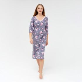 Ночная сорочка женская, цвет серый/розовый, размер 42