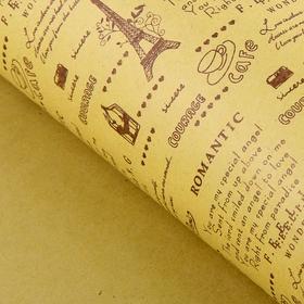 Бумага упаковочная крафт 'Париж', 52 х 73 см Ош