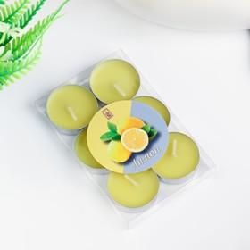 Свечи восковые в гильзе (набор 6 шт.), аромат лимон Ош