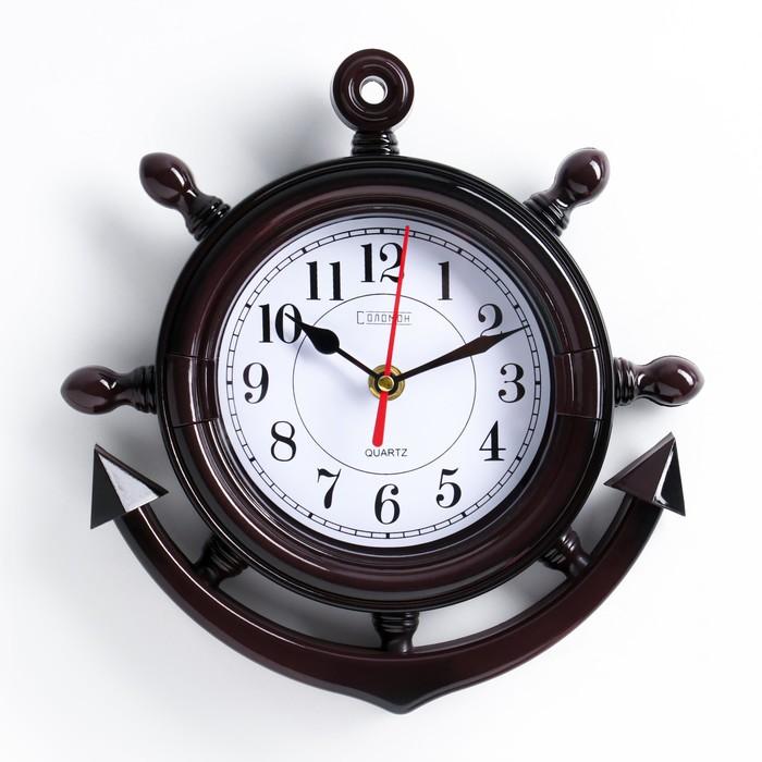 Часы настенные, серия Море, Якорь, коричневые, 23х24 см микс