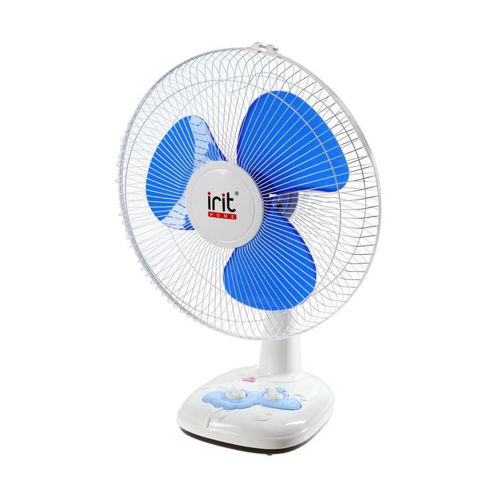 Вентилятор Irit IRV-026, настольный, 40 Вт, 3 скорости, таймер, фасовка 2шт., белый/синий
