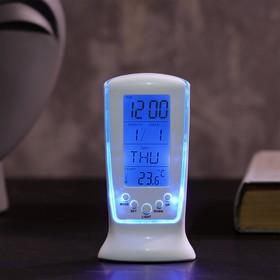 """Будильник LuazON LB-02 """"Обелиск"""", часы, дата, температура, подсветка, белый"""