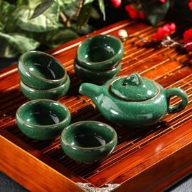"""Набор для чайной церемонии """"Лунный камень"""", 7 предметов: чайник 150 мл, чашки 50 мл, цвет зелёный"""