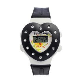 Часы наручные детские 'Сердечко', электронные, с силиконовым ремешком, микс Ош
