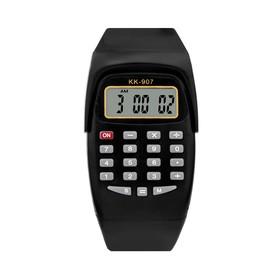 Часы наручные детские, электронные, с силиконовым ремешком, с калькулятором, микс, l=21 см Ош