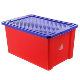 Ящик для игрушек Little Angel «Лего», 57 л, на колесах с крышкой, цвет красный