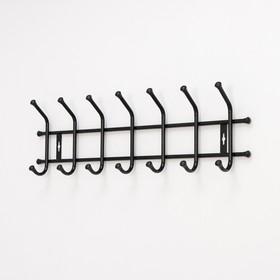 Вешалка настенная на 7 крючков, 68×21,5 см, цвет чёрный