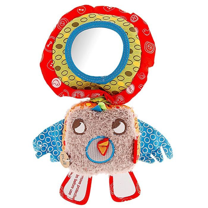 Мягкая музыкальная игрушка-погремушка «Птичка», с зеркальцем
