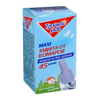 """Дополнительный флакон-жидкость от комаров """"Домовой Прошка"""", Тройной Удар, 45 ночей, 30 мл - Фото 1"""