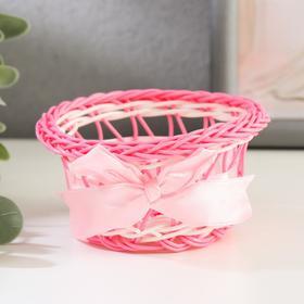 Корзинка декоративная 'Розовая с бантом' Ош