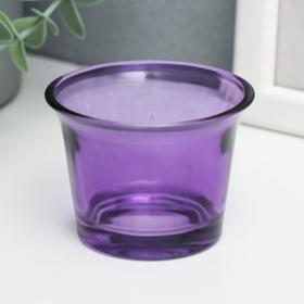 """Подсвечник стекло на 1 свечу """"Глянец"""", сиреневый 4,7х6,2х6,2 см"""