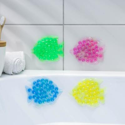 Мини-коврик для ванны «Рыбка», 11×12 см, цвет МИКС - Фото 1