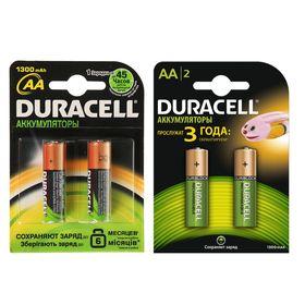 Аккумулятор Duracell, Ni-Mh, AA, HR6-2BL, 1.2В, 1300 мАч, блистер, 2 шт. Ош