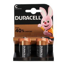 Батарейка алкалиновая Duracell Basic, C, LR14-2BL, 1.5В, блистер, 2 шт.