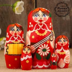 Матрёшка «Концерт», красный микс, 5 кукольная, 12 см Ош