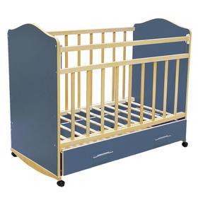 Детская кроватка «Морозко» на колёсах или качалке, с ящиком, цвет синий