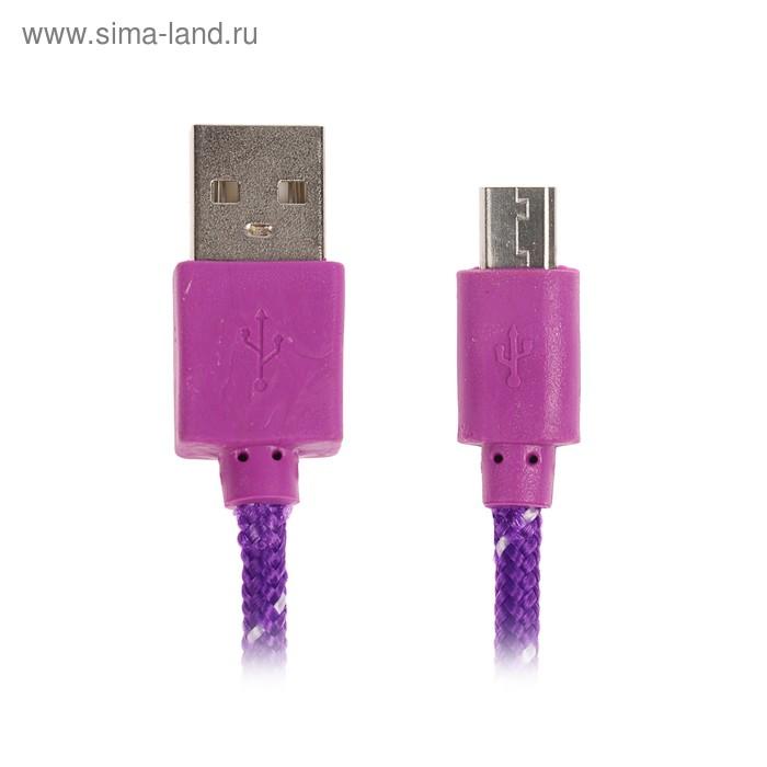 Шнур для зарядки USB - microUSB Luazon, 1м, оплетка МИКС