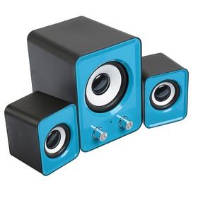 Компьютерные колонки 2.1 LuazON LPCK-02, 2x3Вт, сабвуфер 5Вт, 80дБ, Jack 3.5, USB, синяя Ош