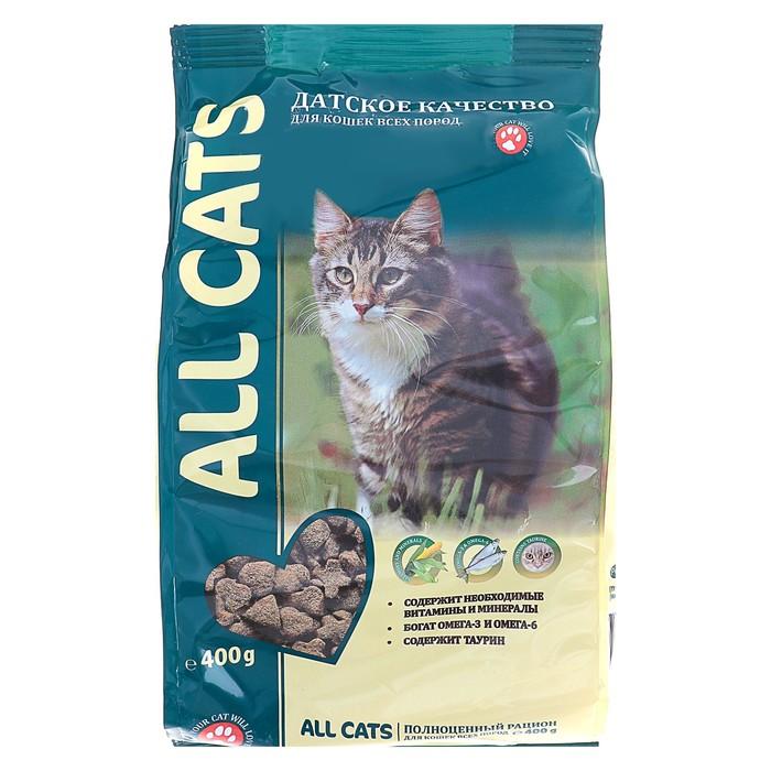 Сухой корм All cats для взрослых кошек, курица, 400 г