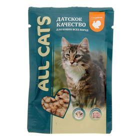Влажный корм All cats для кошек, индейка в соусе, пауч, 85 г