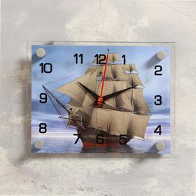 """Часы настенные, серия: Море, """"Корабль"""" стекло 20х26  см, микс"""