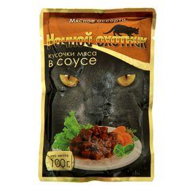 """Влажный корм """"Ночной охотник"""" для кошек, мясное ассорти в соусе, пауч, 100 г"""