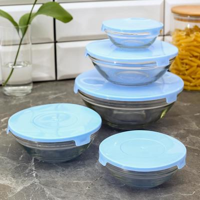 "Набор салатников ""Классика"" с крышками, 5 шт: 900 мл (17х7,6 см), 500 мл (16х6 см), 350 мл (12,5х5,4 см), 200 мл (10,5х4,5 см), 130 мл (9х3,7 см), цвет голубой"