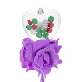 Цветок на палочке, для букетов, с сердечком, цвет сиреневый