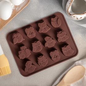 Форма для выпечки «Совята», 15×19 см, 12 ячеек (3,5×3,5×1,5 см), цвет шоколадный Ош