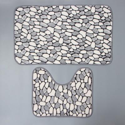 Набор ковриков для ванны и туалета Доляна «Галька», 2 шт: 45×50, 50×80 см