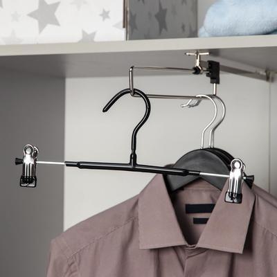 Вешалка для брюк и юбок с зажимами, 31×13 см, антискользящее покрытие, цвет чёрный